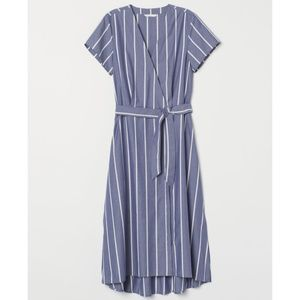 3/30 H&M | Blue & White Striped V-Neck Wrap Dress